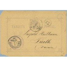 1888.10 c. violeta. Málaga a Furth, Alemania, Mat. Málaga, fechador Fuerth de llegada, marca 12 en un círculo en negro (Laiz 11A