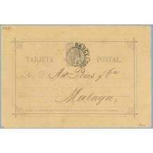 """1884. 10 c. violeta. """"S"""" de Sr. rota en la parte superior Barcelona a Málaga. Mat. Barcelona, fechador de llegada (Laiz 11cc) 6€"""