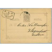 "1884. 10 c. violeta. ""S"" de Sr. rota en la parte superior. Barcelona a Klagenfurt, Austria. Mat. Barcelona y fechador de llegada"