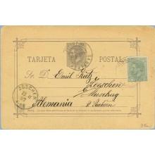 1887.10 c.violeta.+ 5 c. verde. (Ed. 201) Cartagena a Zoschen, Alemania. Mat. Cartagena, fechador de llegada (Laiz 11Fa) 50€