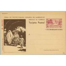 1944. 20 c. + 5 c. lila y castaño. Serie A.Tipo II. Murallas de Tetuán. Familia Mora en el Zoco (Laiz 50) 295€