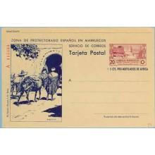 1944. 20 c. + 5 c. lila y azul violeta. Serie A.Tipo III. Murallas de Tetuán. Campesinos con Burros y Arco (Laiz 54) 295€