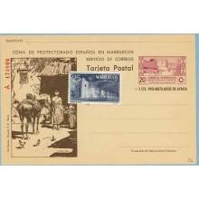 1944. 20 c. + 5 c. lila y castaño. Serie A.Tipo III. Murallas de Tetuán. Campesinos con Burros y Arco (Laiz 56) 295€