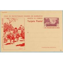 1944. Murallas de Tetúan. 20 c. + 5 c. lila y rojo. Serie B. Agricultores y Burros en el Campo (Laiz 77) 285€