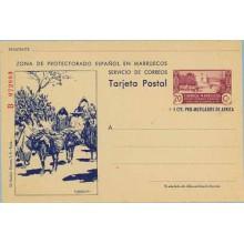 1944. 20 c. + 5 c. lila y azul violeta. Serie B. Murallas de Tetuán. Agricultores y Burro en Campo (Laiz 78) 295€