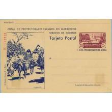 1944. 20 c. + 5 c. lila y azul. Serie B. Murallas de Tetuán. Agricultores y Burros en el Campo (Laiz 79) 295€