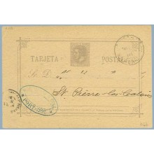 1886.10 c. violeta. Sobreimpresión privada. Agence Douanes MORI WHITE & COLL. Port-Bou (Espagne) Gerona a St. Pierre. Mat. Geron