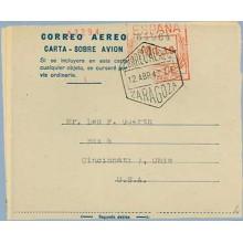 1947. 1,30 p. (II) fondo gris claro. Matasellos. .Zaragoza (Laiz 2)24€