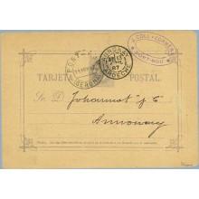 1887.10 c. violeta. Sobreimpresión privada. J. COLL Y CORBERA. Agente de aduanas. Port-Bou. Gerona a Annonay, Francia. Mat. Port