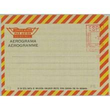 1974.10,00 p. Aerograma (IV) Línea inferior en mayúsculas. Inscripción AEROGRAMA/AÉROGRAMME de diferentes dimensiones, bordes fo