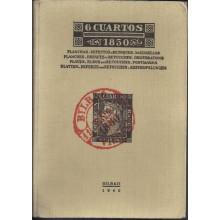 6 CUARTOS 1850. Planchas-Defectos y Retoques. Matasellos. Bilbao 1940. Antonio de Guezala Ayrivié.