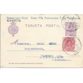1922. 15 c. Valencia a radenberg, alemania. mat. valencia(45). franqueo complementaio 10 c. rojo. medallón. laiz 50fe. 42E