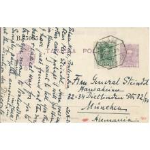 1925. 15 c. pontevedra a munich. Mat. amb/asce/venta de baños coruña. franqueo complementario 10 c. vaquer. laiz 57Fd. 50€