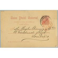 XII 1888.10 c. carmín. Sevilla a Londres. Mat. Sevilla y llegada (Laiz 15) 6€