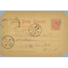 1886.10 c. carmín. Granoller del Valles, Barcelona a New York, Mat. Granollers, fechador de llegada (Laiz 15) 50€
