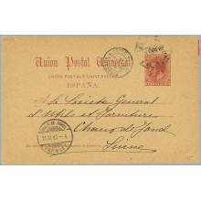 1880.10 c. carmín. Valencia a Chaux. Mat. Ambulante y llegada (Laiz 15) 24€