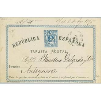 1875. 5 c. azul y negro. Textos deplazados hacia la izquierda. Alcala la Real, Jaén a Antequera. Mat. Alcala la Real (Laiz 3eb)
