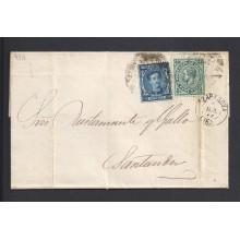 1877. Alfonso XII. 10 c. azul y 5 c. verde Impuesto de Guerra. Ed. 175-183 150 €