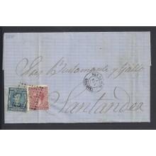 1878. Alfonso XII. 10 c. azul y 15 c. carmín Impuesto de Guerra. Ed. 175-188 150 €
