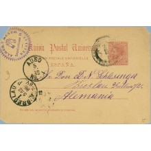 1888.10 c. carmín. Barcelona a Breslau, fechador llegada (Laiz 15) 36€