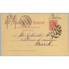 1887. 10 c. carmín. Madrid a Basel. Mat. Madrid y llegada (Laiz 15) 6€