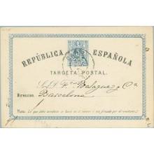 1874. 5 c. azul y negro. Fechador Cadiz (Laiz 5) 16€