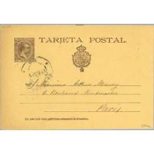 "1895. Pelón.10 c. castaño sobre amarillo. Letra ""J"" de Tarjeta, rota en la parte inferior. Valencia a París. Mat. Valencia (Laiz"