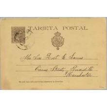 """1891. Pelón.10 c. castaño. Letra """"J"""" de tarjeta, rota en la parte inferior y dirección sin acento, a Manchester (Laiz 27cfa) 20€"""