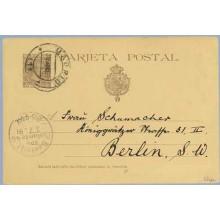 "1891. Pelón. 10 c. castaño. ""direccion"" sin acento. Madrid a Berlín. Mat. Madrid y llegada (Laiz 27cc) 20€"