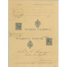 1890. Pelón. 15 c. + 15 c. azul. Barcelona. Mat. Barcelona (Laiz 28a) 110€