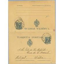 1890. Pelón.15 c. + 15 c. azul. Zaragoza a Lisboa. Mat. Zargo (Laiz 28a) 130€