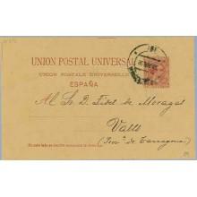 1892. Pelón. 10 c. carmín. Dirigida a Valls, Tarragona (Laiz 29) 10€