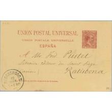 1892. Pelón. 10 c. carmín. Barna a Ratisbona. Fech. llegada (Laiz 29) 12€