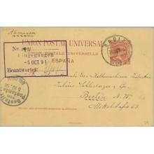1891.Pelón. 10 c. carmín. Cadiz a Berlín. Mat. Cadiz y llegada (Laiz 29) 12€
