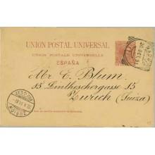 1891.Pelón. 10 c. carmín. Madrid a Zurich. Mat. Ensayo de Madrid y llegada (Laiz 29) 24€