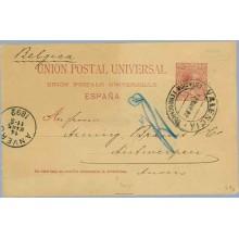 "1894. 10 c. carmín. Direcciòn con tres ""c"". Valencia a Annvers (Laiz 29ea) 50€"