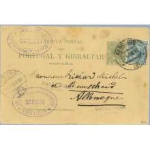 1890. Pelón. 5 c. verde + 5 c. azul. Pelón (Ed.215). Barcelona a Bemscheid. Mat. Barcelona y llegada (Laiz 30) 170€