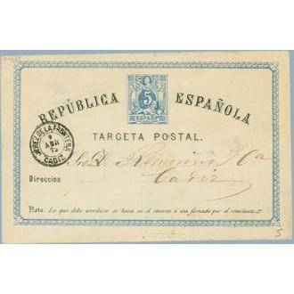 1875. 5 c. azul. J. de la Frontera a Cádiz. Mat. J. de la Frontera (Laiz 5) 16€
