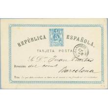 5 c. azul. Valladolid a Barcelona. Fechador Valladolid (Laiz 1) 16€