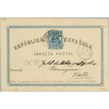 1875. 5 c. azul y negro. Mat.Tarragona y fechador Zaragoza (Laiz 5b) 14€