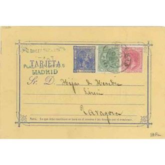 1880. 5 c.+ 5 c. verde. (Ed.201) + 10 c. rosa. (Ed.202) Madrid a Zaragoza. Mat. Madrid (Laiz 8AFa) 160€