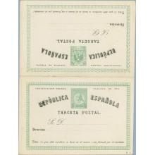 1874. Matrona y Cifras. 5 c. + 5 c. verde y negro. Tipo I. Sin línea divisoria entre las dos tarjetas (Laiz 6c) 120€