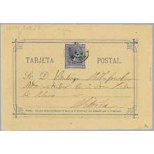 1876. 5 c. azul. Cartulina gris. Dirigida a Vitoria (Laiz 8c) 20€