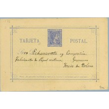 "1876. 5 c. azul. Segunda ""A"" de TARJETA, más pequeña. Madrid a Irura de Tolosa, Guipuzcoa. Fechador Tolosa de llegada (Laiz 8ce)"