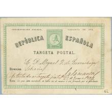 1879. 5 c. verde. Tarjeta circulada, dirigida a Salamanca (Laiz 6i) 45€