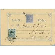 1876. 5 c. azul + 5 c. verde I. de guerra (Ed. 183) Valencia a Alicante. Mat. Rombo de puntos (Laiz 8ck) 35€