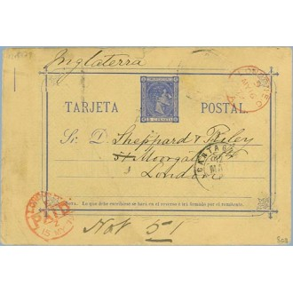 1879. 5 c. azul. Cartagena a Londres. Mat. Cartagena, fechador London Paid, en rojo (Laiz 8cq) 30€