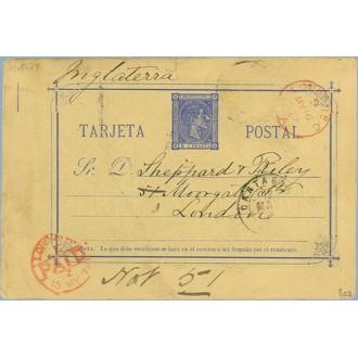 1879. 5 c. azul. Cartagena a Londres. Mat. Cartagena, fechador London Paid, en rojo (Laiz 8cq) 30€