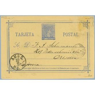 """1877. 5 c. azul. """"esbribirse"""" en lugar de escribirse, en la nota. Madrid a Dresden. Mat. Estafeta de Cambio Madrid, Fechador de"""