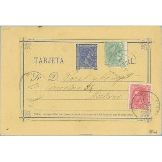 1879. 5 c. azul + 5 c. verde. (Ed. 201) + 10 c. rosa (Ed. 202) C. Real a Madrid. Mat. C. Real, fechador Madrid (Laiz 8Fad) 120€